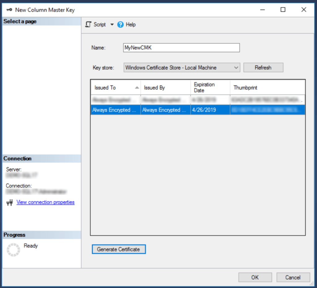 New Column Master Key Dialog